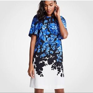 Ann Taylor Floral Toile Flare Sleeve Shift Dress